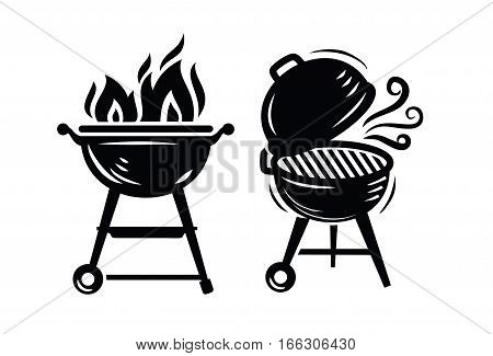 ector black BBQ Grill icons on white background