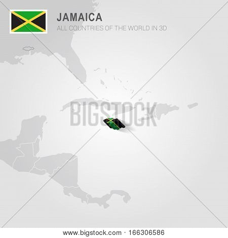 Jamaica painted with flag drawn on a gray map.