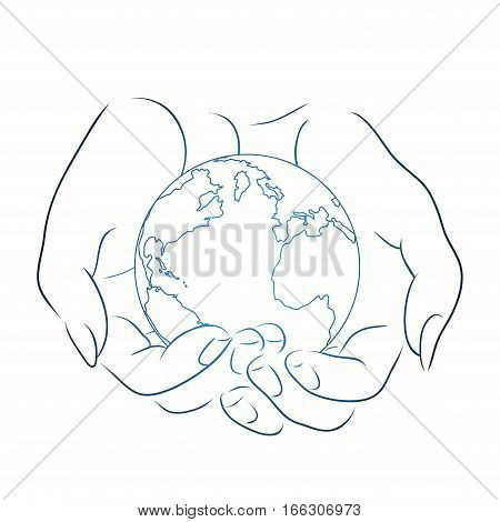 Contour illustration of female hands holding a globe. Vector element for your design