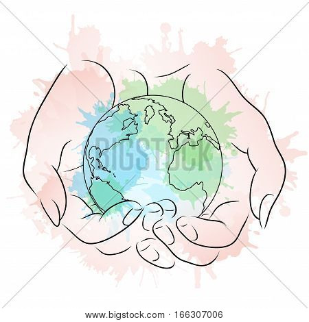 Contour illustration of female hands holding a globe with watercolor splashes. Vector element for your design