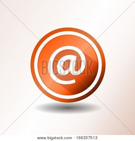 Illustration of a flat design contact email icon on orange and grey background