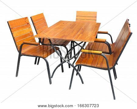 Set of wooden garden furniture table and chairs isolated on white background