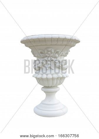 Stone Vase In The Old Classical Style With Isolated Over White