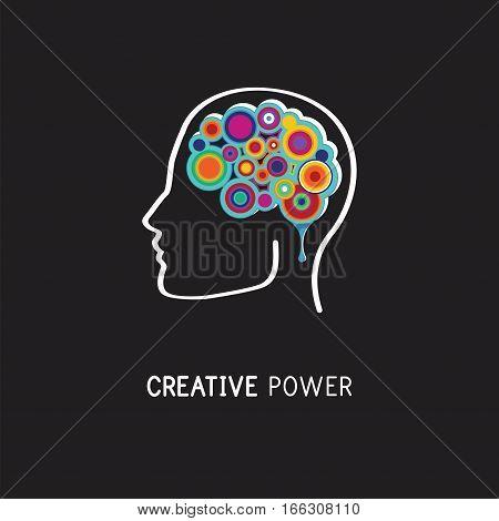 Creative, digital abstract colorful icon of human brain, mind, brain symbol. vector illustration
