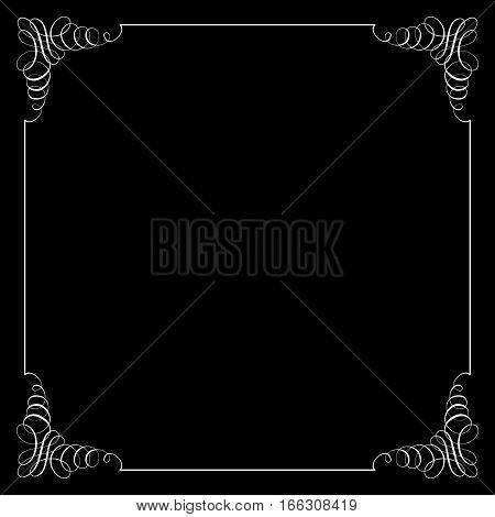 Square frame in calligraphic retro style. Can be used for decorate cards invitations decorate books and letters. Vector illustration.