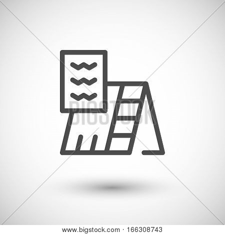 Roof insulation line icon isolated on grey. Vector illustration