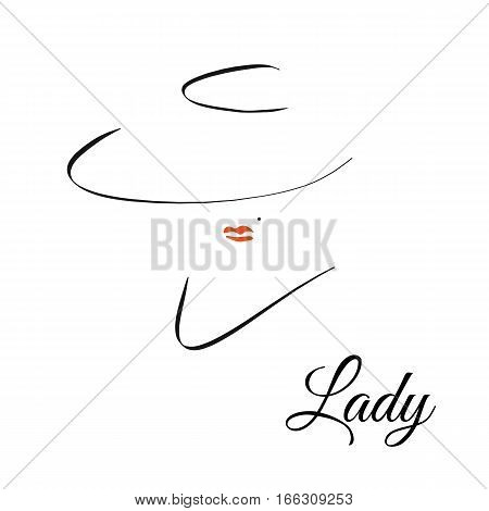 fashion and beauty logo. mysterious elegant woman with red lips and hat. Black line on white background. Vector fashion illustration