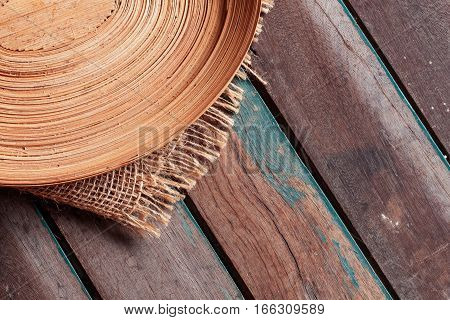 Tray for putting food on the wooden table.