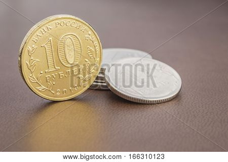 Ten russian rubles coin. banking, business capital,