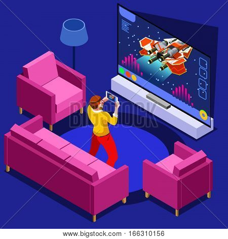 Video game screen and gamer person gaming online with console controller android phone or computer. 3D Isometric People icon set. Creative design vector illustration collection