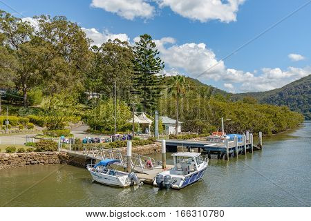 BROOKLYN AUSTRALIA - OCTOBER 14 2016: Milson Island wharf is a stopping point for the Hawkesbury River mail boat service.