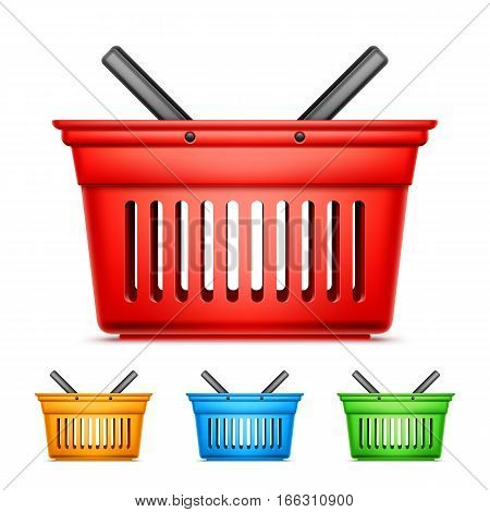 Collection of red, yellow, blue an green shopping baskets on white background