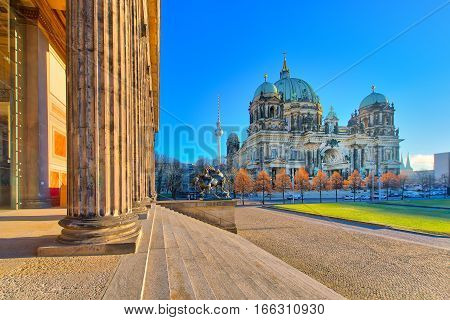 Cathedral Of Berlin From The Altes Museum Building