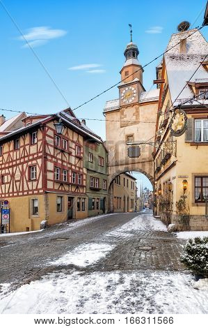 Amazing old town of Rothenburg ob der Tauber, Middle Franconia, Bavaria, Germany