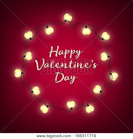 Valentines Day background. Vector retro light sign. Heart shape. Decorative festive heart-shaped bulbs lights wreath. Holiday garland