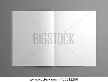Orthographic blank opened magazine or brochure mock-up. 3D illustration template.