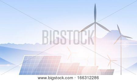 Wind Turbine Solar Panel Alternative Energy Source Nature Background Banner Vector Illustration