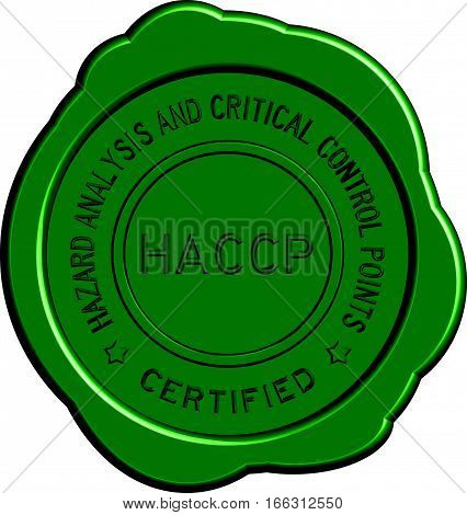 Green HACCP (Hazard analysis and critical control points) round wax seal on white background
