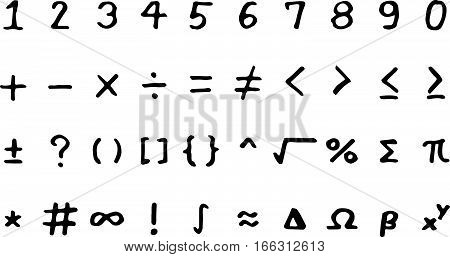 Set of black hand drawing mathmethical sign on white background