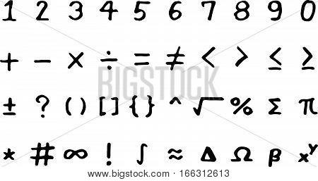 Set of black hand drawing mathmethical sign on white background