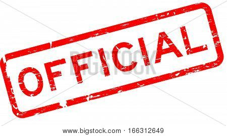 Grunge red official square rubber seal stamp on white background