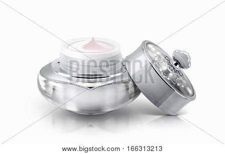 Single silver deluxe cosmetic jar on white background