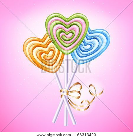 Heart lollipop vector illustration. Sweet spiral candies on stick with golden ribbon and bow. Love symbol. Good for Valentines day design. Pink, green, orange and blue hard candy.