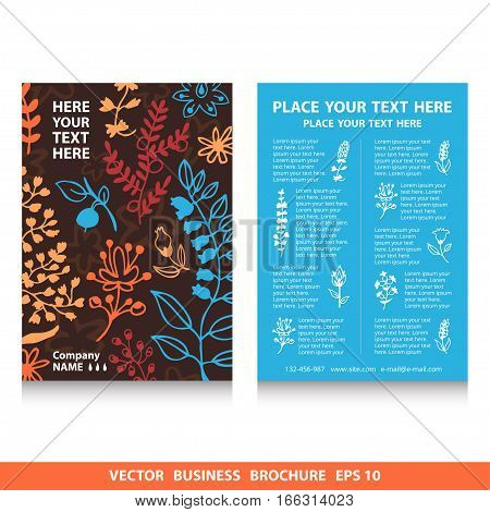 Vector flyers brochure with flowers icons and plants pattern vector design. Stock vector template easy to use. Ecology themes. Size A4. Eps 10