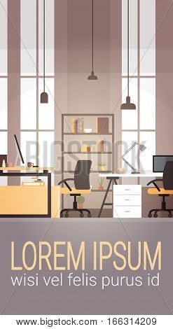 Creative Office Co-working Center University Campus Modern Workplace Flat Vector Illustration