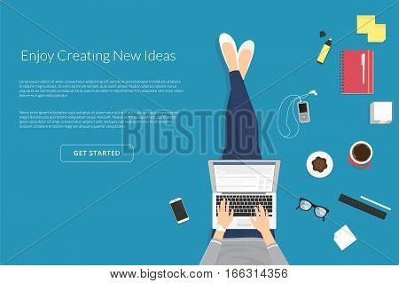 Lazy woman sitting on the floor and working with laptop in social networks. Flat illistration top view of people relaxing at home, drinking coffee using laptop and typing