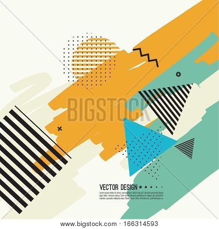 Trendy abstract background. Collage of geometric elements. Modern hand drawn design. Retro style texture, pattern. Creative backdrop for booklets, covers, poster, banner. Memphis cards. Vector