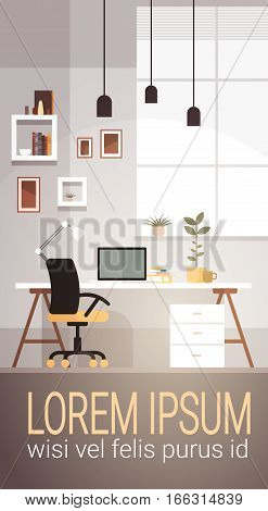 Modern Workplace Cabinet Room Interior Empty No People House Flat Vector Illustration