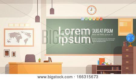 School Classroom Interior Board Desk Banner Flat Vector Illustration
