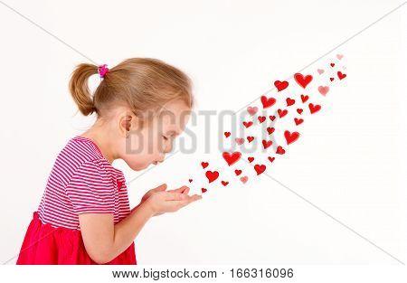 little cute girl a good 4 years send a kiss - drawn hearts. love valentine's day concept