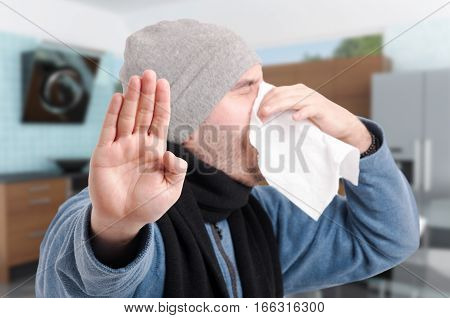 Sick Male Blowing Nose And Doing Stop Gesture