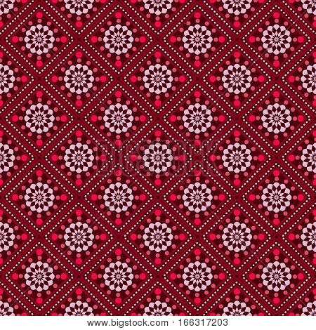 seamless geometric pattern, crimson squares and rhombuses, vector illustration