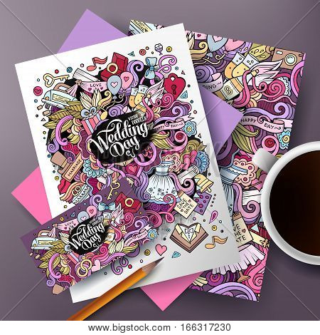 Cartoon cute colorful vector hand drawn doodles Wedding corporate identity set. Templates design of business card, flyers, posters, papers on the table.