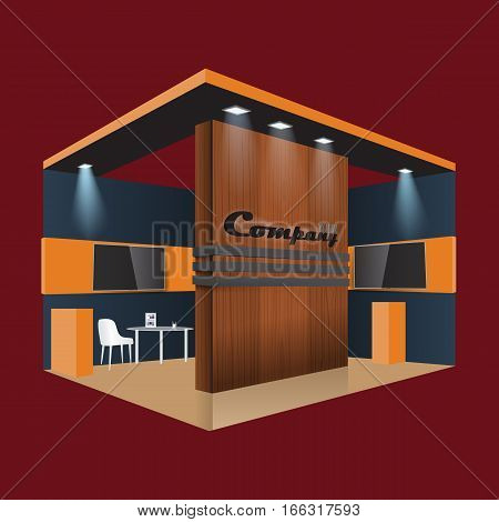Illustrated unique creative wooden exhibition stand display design info board, roll up for a furniture company. Vector Display Mock-up and corporate identity