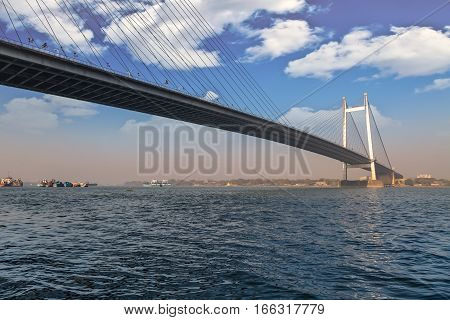 Vidyasagar Setu also known as the Second Hooghly river bridge is a cable stayed bridge connecting the city of Kolkata with Howrah district.