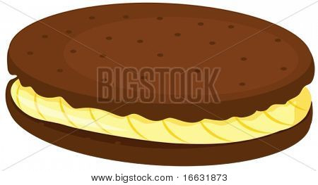 illustration of cream biscuit on white