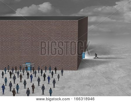 Using the side door business concept as a group of people blocked or locked out of a building with a closed entrance with another person running into a sideway opened gate with 3D illustration elements.