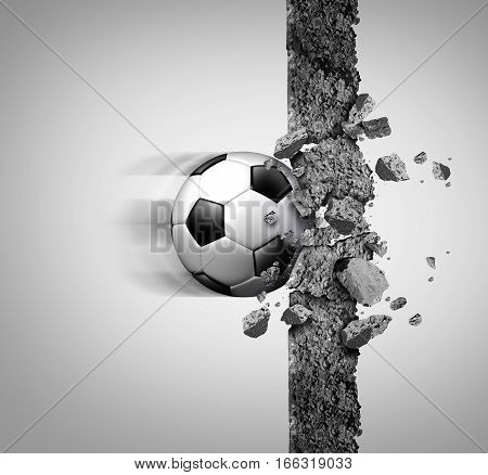 Soccer power and european football strength as a sport equipment ball breaking through and crushing a cement wall as a victory and strongest champion metaphor with 3D illustration elements.