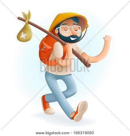 3d Cartoon Hipster Geek Traveler Businessman Vacation Summer Character Icon on Stylish Background Design Vector Illustration