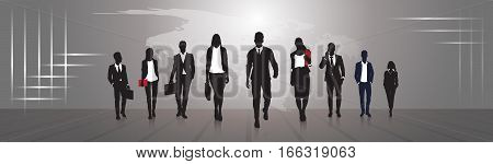 Silhouette Businesspeople Group Business Man And Woman Team Vector Illustration