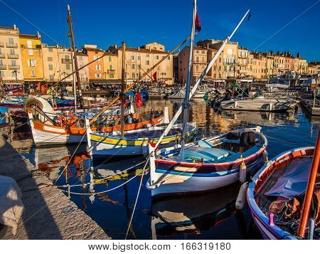 St. Tropez old fishing village harbor, France