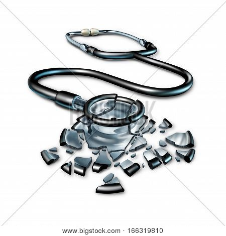 Broken health care concept and damaged medical insurance patient plan as a shattered fragmented doctor stethoscope on a white background as a 3D illustration.