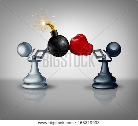 Aggressive strategy concept as two open chess pawns with a boxing glove fighting with an explosive bomb as a business competition metaphor for strategic advantage and prepared to win as a 3D illustration.