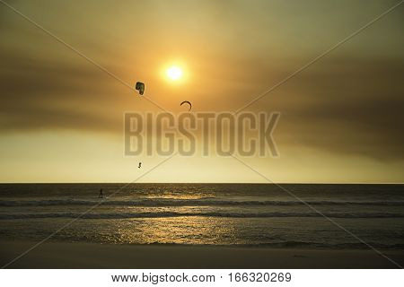 Kite Boarders on Blouberg Beach at Sunset