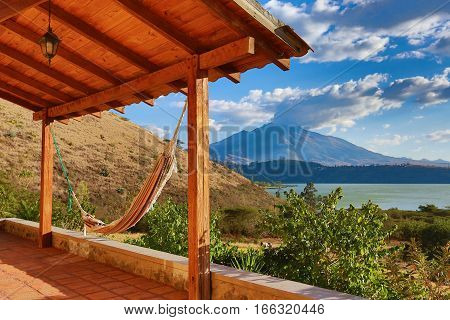 hammock on a patio with volcano in the background in Ibarra Ecuador