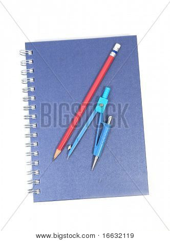 a note pad, rounder and pencil on white